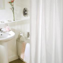 2 Stück Duschvorhang + Ringe/Polyester/weiß/...