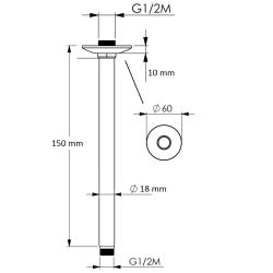 Deckenarm / Deckenzulauf / Deckenanschluss - 15 cm