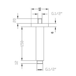 Deckenarm / Deckenzulauf 15 cm - quadratisch