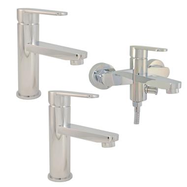 Design / 2x Waschtischarmatur / 1x Badewannenarmatur Messing Chrome