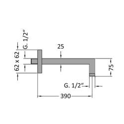 Wandausleger / Wandarm / Wandanschluss, Messing, verchromt - ca. 40cm, eckig