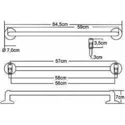 Design Handtuchhalter / Handtuchstange, einfach - Serie: Rimini, 60 cm