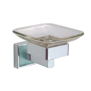 Design Seifenschale / Seifenablage mit Glaseinsatz & Wandhalterung - Messing/verchromt - Quadra