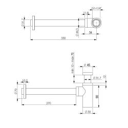 Design Siphon / Sifon + 2 x Eckventil / Waschbecken Ablauf
