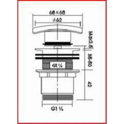 Design Ablaufgarnitur / Beckenablauf mit Klick-Verschluss - mit quadratischem Kopf