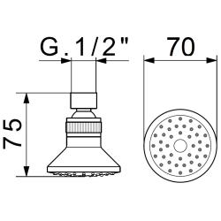 Deluxe Duschkopf / Kopfbrause Ø 70mm - 46 Düsen - 1 Stück - mit Antikalkdüsen