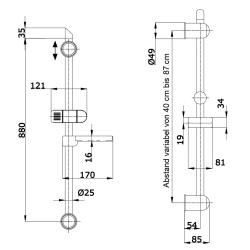 Brause-Set mit Duschstange, variabler Lochabstand, Brauseschlauch, Ablage, Handbrause 2401