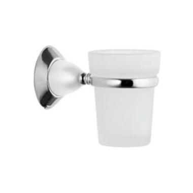 Mundspülglas / Zahnputzglas / Wasserglas, mit Wandhalterung - in Chrom & satiniertem Glas