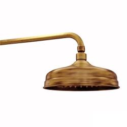 Regenbrause / Regendusche / Brausekopf, Ø 215mm-105 Düsen - Old Brass - mit Wandarm 40 cm