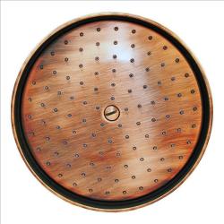 Regenbrause / Regendusche / Brausekopf, Ø 215mm-105 Düsen - Kupfer - mit Wandarm 40 cm