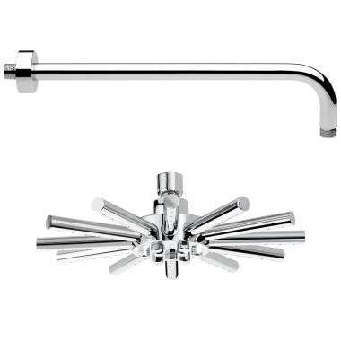 Sternförmige Regenbrause / Regendusche / Kopfbrause / Brausekopf, mit Wandarm 40 cm