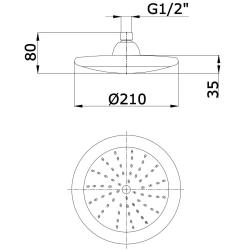 Regendusche/ Regenbrause/ Brausekopf/Dusche 21cm