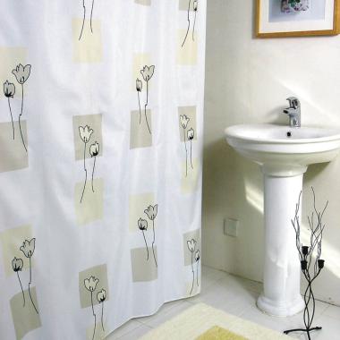 Textil Duschvorhang / Brausevorhang / Vorhang / Dusche - Model: Flowers - 180 x 200 cm