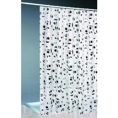 Textil Duschvorhang + Ringe 120x200 / weiss/schwarz  Bad Dusche Vorhang