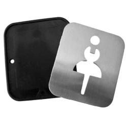 Türschild - Edelstahl - Damen - für Toilette / WC-Tür / Gastronomie / Bad / WC