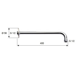 Wandausleger / Wandarm / Wandanschluss aus Messing, verchromt - ca. 40cm