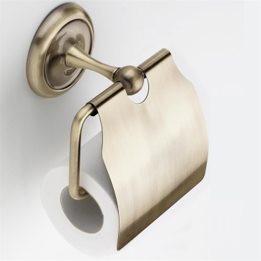 WC Papierhalter / Toilettenpapierhalter / Klopapierhalter Altmessing (105014)