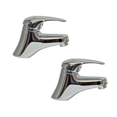 2x Design Waschtischarmatur / Waschbecken Armatur Set Messing Chrome