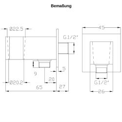 Design Handbrause Set Messing mit Schlauch 200 cm+  Wandanschluss
