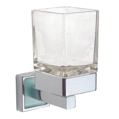 Design Mundspülglas / Zahnputzglas, mit Wandhalterung - Messing, verchromt - Quadra