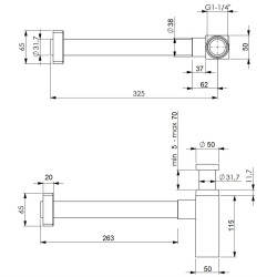 Design Siphon Set Quadro, Messing, verchromt - Sifonset -...