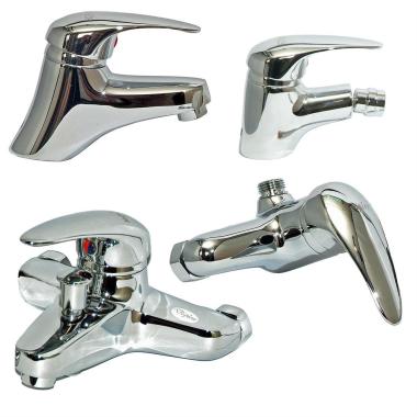 Design Waschtisch Bidet Dusche Wannen Armatur Set Messing verchromt