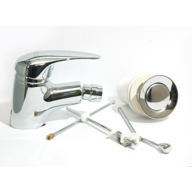 Design Waschtischarmatur / Bidet Armatur Set Messing Chrome Bad WC