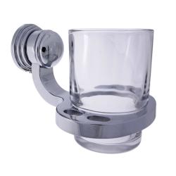 Design Mundspülglas / Zahnputzglas / Wasserglas, mit Wandhalterung, verchromtes Messing