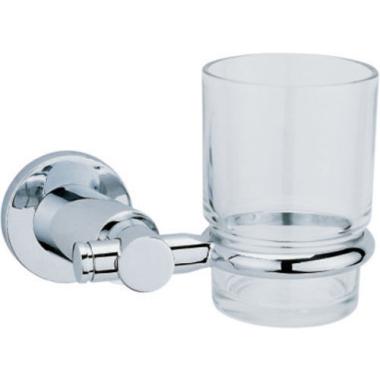 Mundspülglas mit Wandhalterung in Chrom und Glas