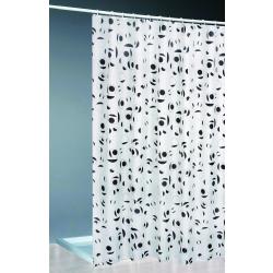 Textil Duschvorhang + Ringe 180x200 / weiss/schwarz  Bad...