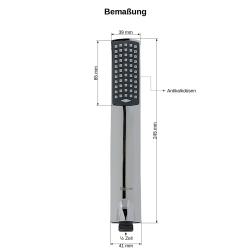 Design Duschbrause Duschkopf Handbrause Brause flach + Brauseschlauch 200 cm