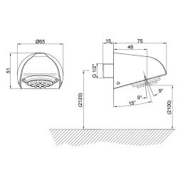 Vandalismussicherer Duschkopf Brausekopf Kopfbrause zur Wandmontage Massive schwere Ausführung
