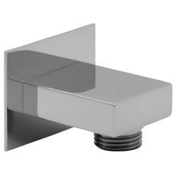 Handbrause Set quadratisch Duschbrause mit Schlauch Wandanschluss Bogen Brausehalter Messing verchromt