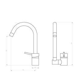Küchenarmatur mit klappbaren Auslauf Unterfenster / Vorfenster/ umklappen