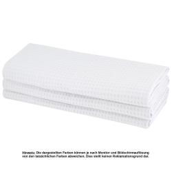 3x Geschirrtuch aus 100% Baumwolle Waffel-Piqué in weiss