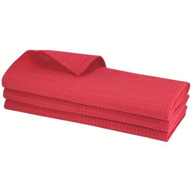 3x Geschirrtuch aus 100% Baumwolle Waffel-Piqué in rot / Küchentuch / Putztuch