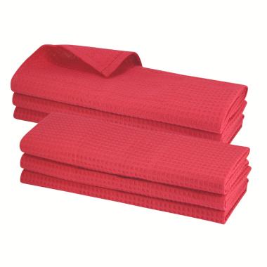 6x Geschirrtuch aus 100% Baumwolle Waffel-Piqué in rot / Küchentuch / Putztuch