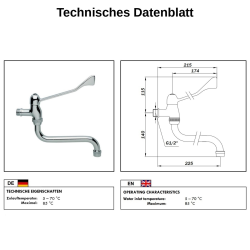 Hygiene Kaltwasser Wand-Armatur mit langem Hebel /...
