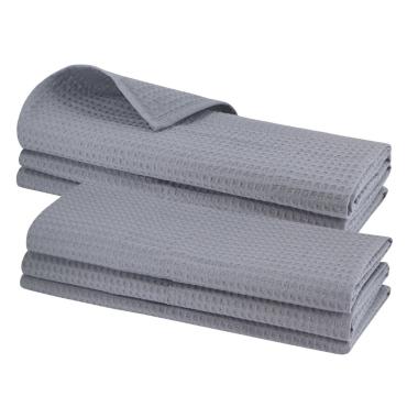 6x Geschirrtuch aus 100% Baumwolle Waffel-Piqué in grau / Küchentuch / Putztuch