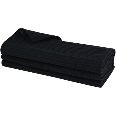 3x Geschirrtuch aus 100% Baumwolle Waffel-Piqué in schwarz / Küchentuch / Putztuch