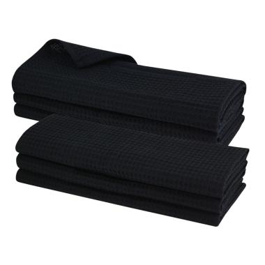 6x Geschirrtuch aus 100% Baumwolle Waffel-Piqué in schwarz / Küchentuch / Putztuch
