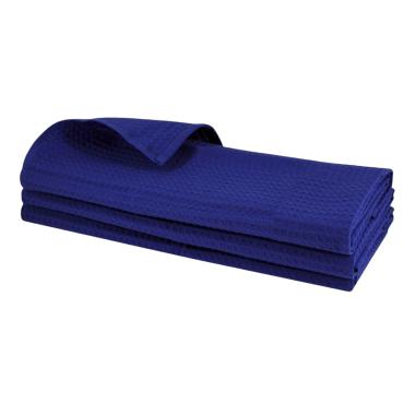 3x Geschirrtuch aus 100% Baumwolle Waffel-Piqué in blau / Küchentuch / Putztuch