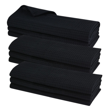 9x Geschirrtuch aus 100% Baumwolle Waffel-Piqué in schwarz / Küchentuch / Putztuch