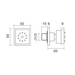 Seitenbrause / Wandbrause / Seitendusche / Massagebrause / Brause - Set 3 x quadratisch