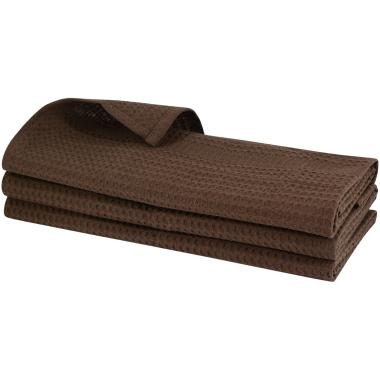 3x Geschirrtuch aus 100% Baumwolle Waffel-Piqué in braun / Küchentuch / Putztuch