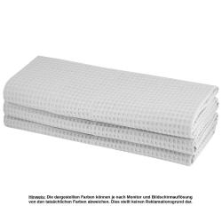 6x Geschirrtuch aus 100% Baumwolle Waffel-Piqué in hellgrau / Küchentuch / Putztuch