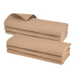 6x Geschirrtuch aus 100% Baumwolle Waffel-Piqué in hellbraun / Küchentuch / Putztuch