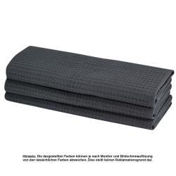 9x Geschirrtuch aus 100% Baumwolle Waffel-Piqué in anthrazit / Küchentuch / Putztuch