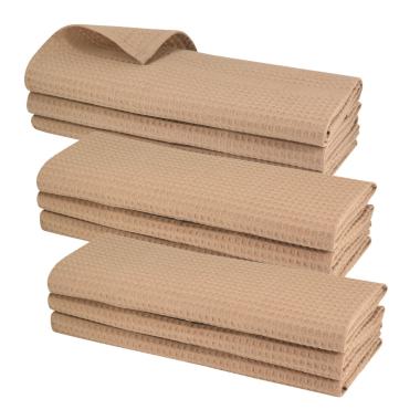9x Geschirrtuch aus 100% Baumwolle Waffel-Piqué in hellbraun / Küchentuch / Putztuch