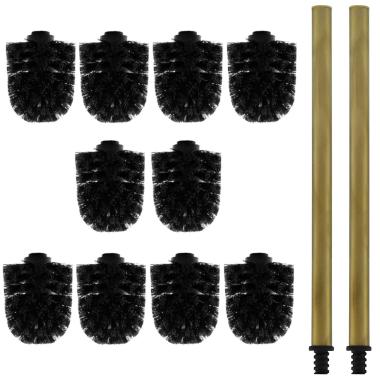 10x Ersatz-Bürstenkopf schwarz + 2x Griff 26 cm Alt-Messing / Toilettenbürste / Klobürste